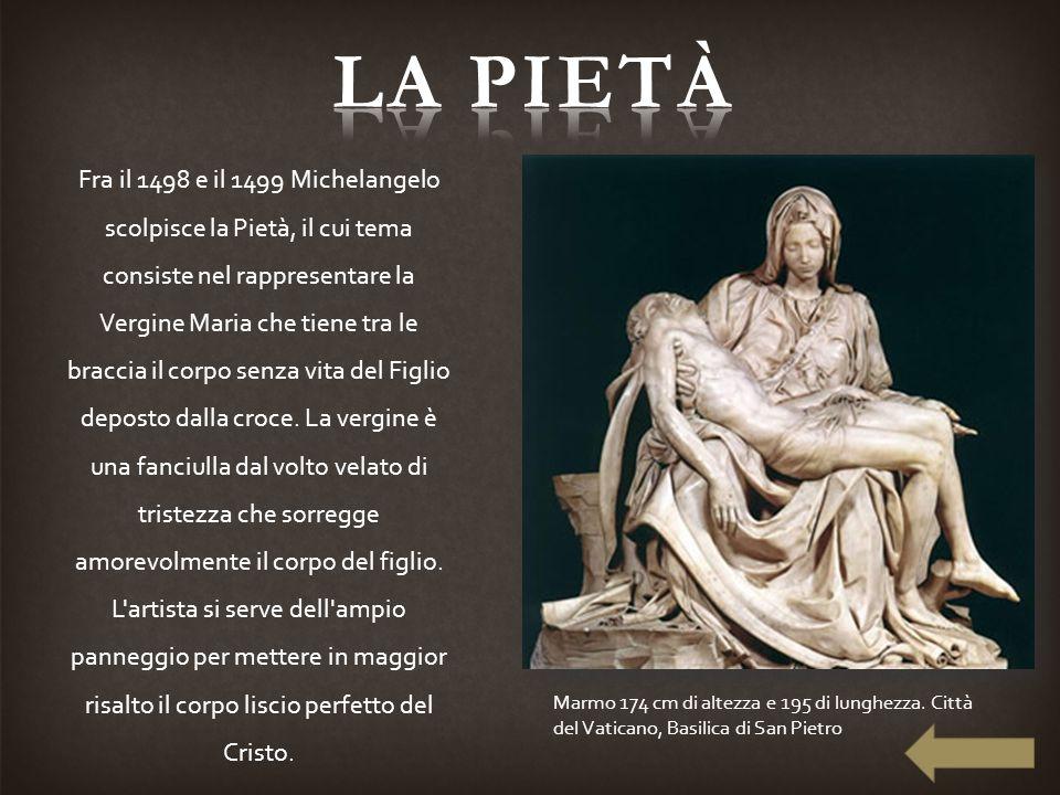 Fra il 1498 e il 1499 Michelangelo scolpisce la Pietà, il cui tema consiste nel rappresentare la Vergine Maria che tiene tra le braccia il corpo senza