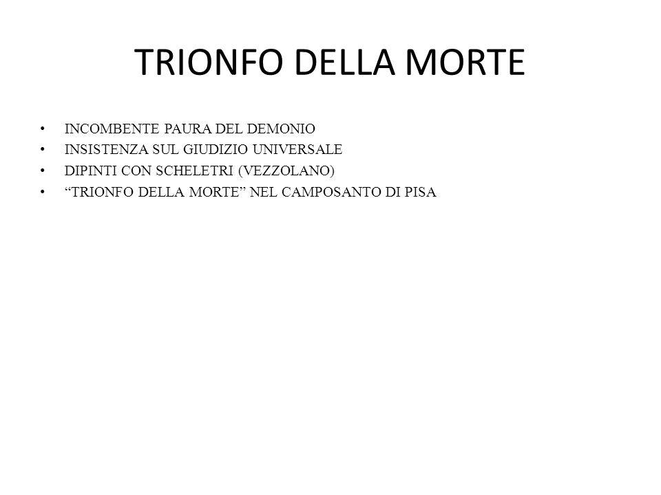 """TRIONFO DELLA MORTE INCOMBENTE PAURA DEL DEMONIO INSISTENZA SUL GIUDIZIO UNIVERSALE DIPINTI CON SCHELETRI (VEZZOLANO) """"TRIONFO DELLA MORTE"""" NEL CAMPOS"""