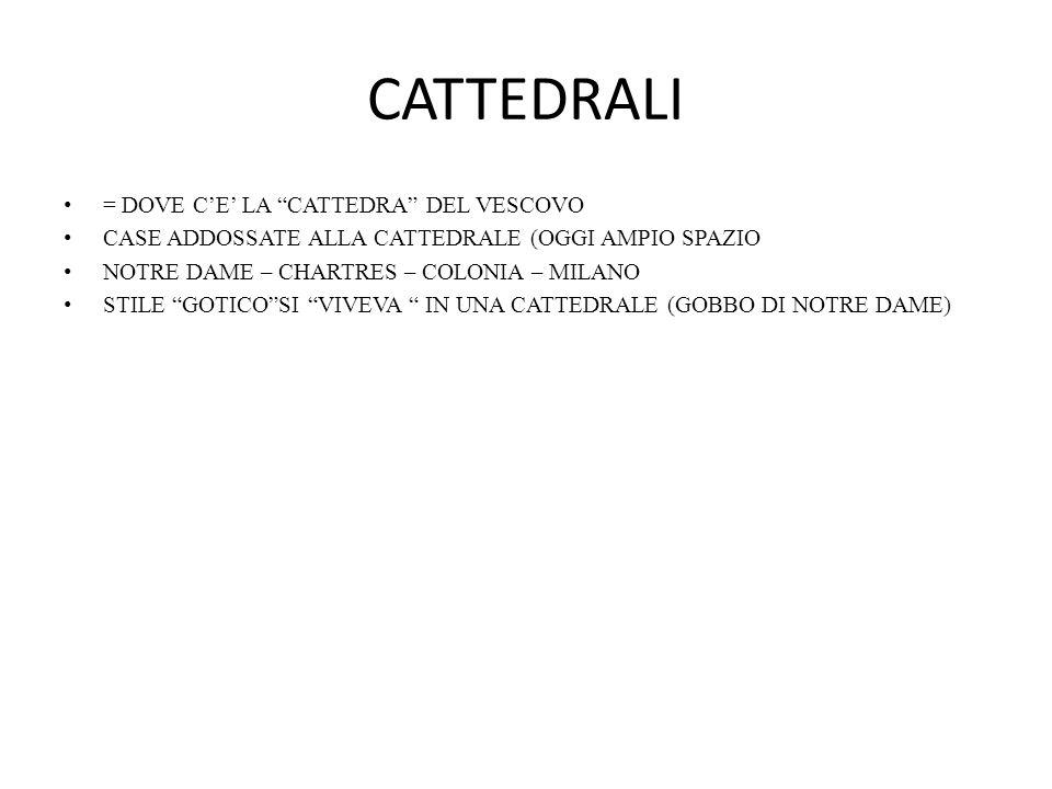 """CATTEDRALI = DOVE C'E' LA """"CATTEDRA"""" DEL VESCOVO CASE ADDOSSATE ALLA CATTEDRALE (OGGI AMPIO SPAZIO NOTRE DAME – CHARTRES – COLONIA – MILANO STILE """"GOT"""