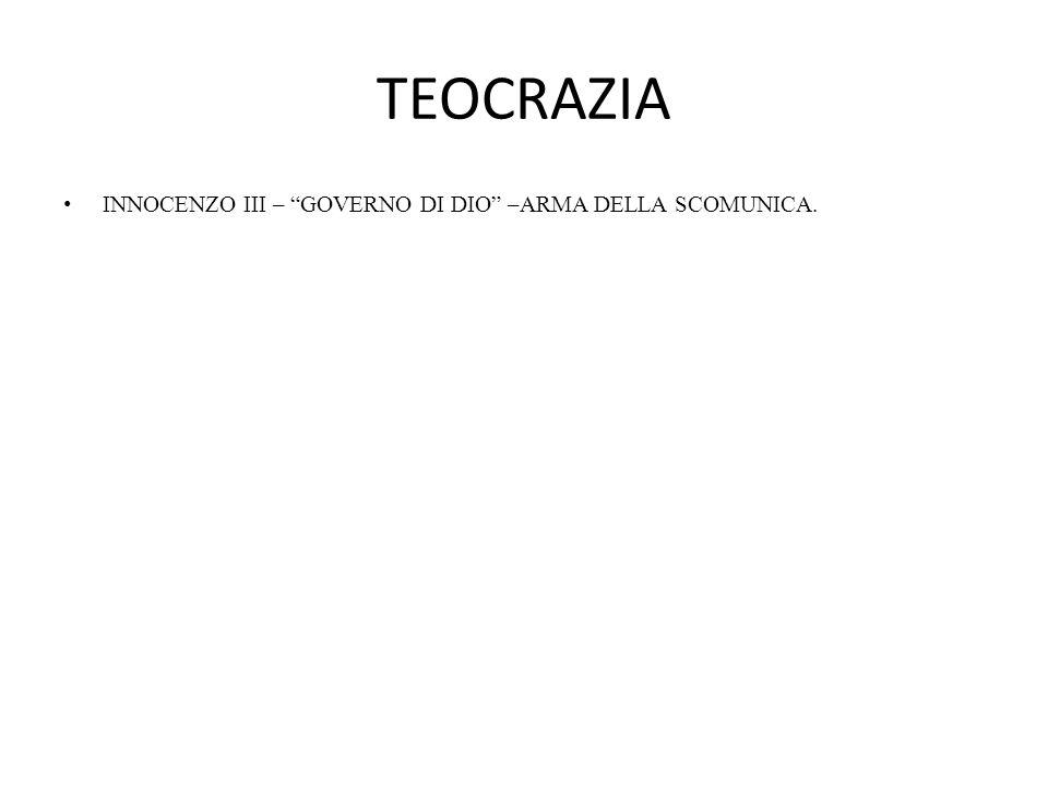 """TEOCRAZIA INNOCENZO III – """"GOVERNO DI DIO"""" –ARMA DELLA SCOMUNICA."""