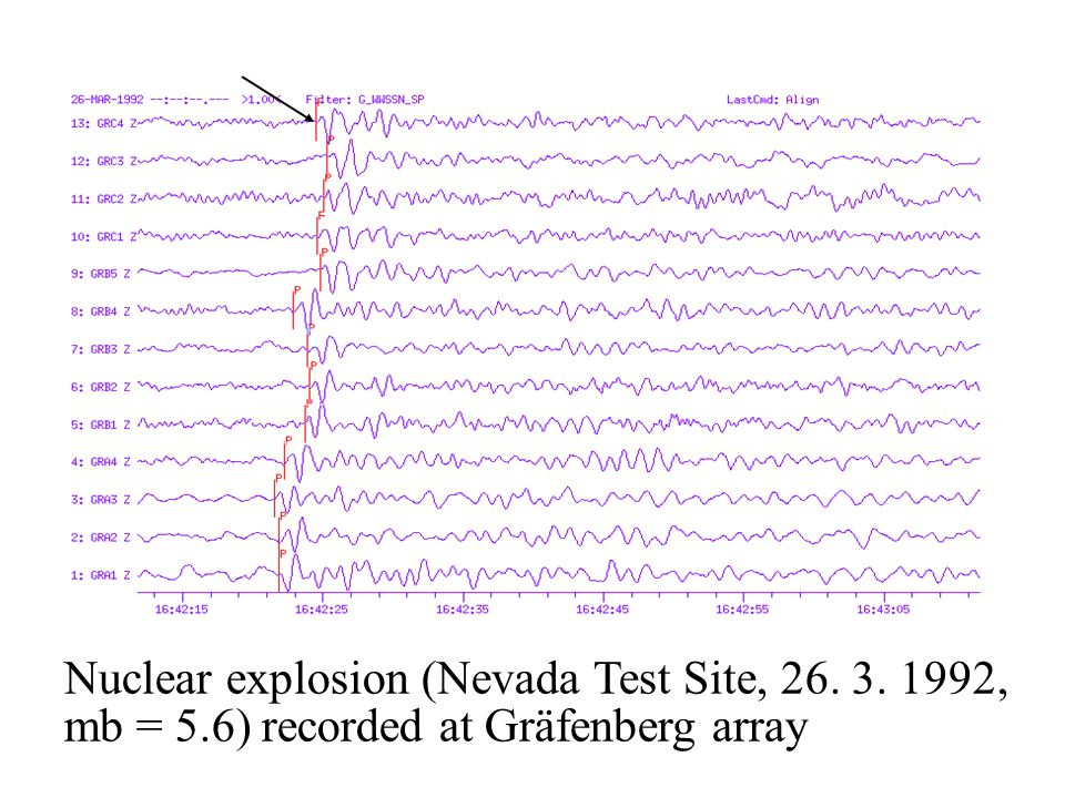 Nuclear explosion (Nevada Test Site, 26. 3. 1992, mb = 5.6) recorded at Gräfenberg array P onset
