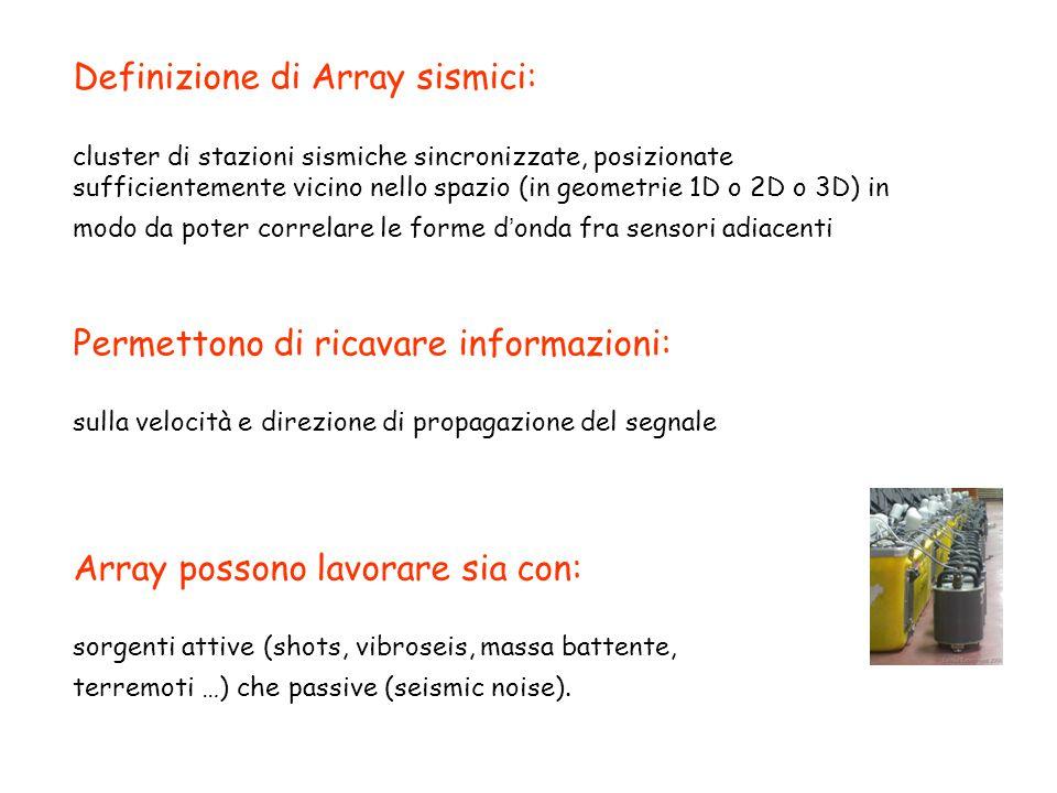 Definizione di Array sismici: cluster di stazioni sismiche sincronizzate, posizionate sufficientemente vicino nello spazio (in geometrie 1D o 2D o 3D)