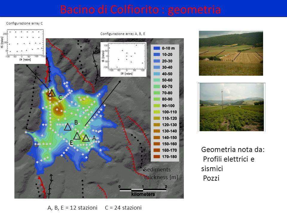 Bacino di Colfiorito : geometria Geometria nota da: Profili elettrici e sismici Pozzi Sediments thickness [m] A B C E A, B, E = 12 stazioni C = 24 sta