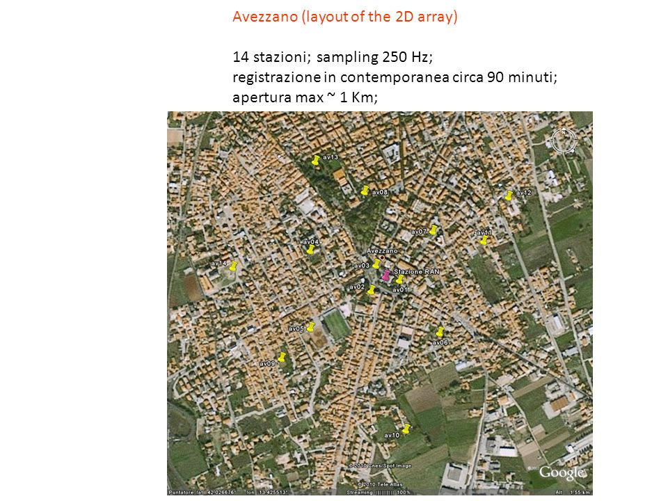 Avezzano (layout of the 2D array) 14 stazioni; sampling 250 Hz; registrazione in contemporanea circa 90 minuti; apertura max ~ 1 Km;