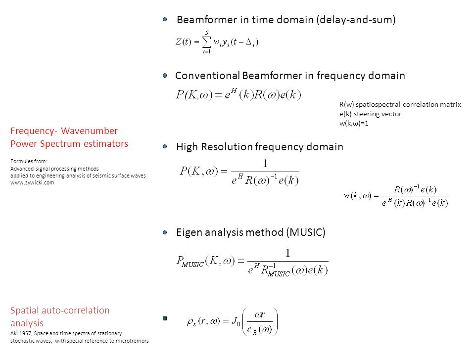 Frequency- Wavenumber Power Spectrum estimators Beamformer in time domain (delay-and-sum) High Resolution frequency domain Conventional Beamformer in