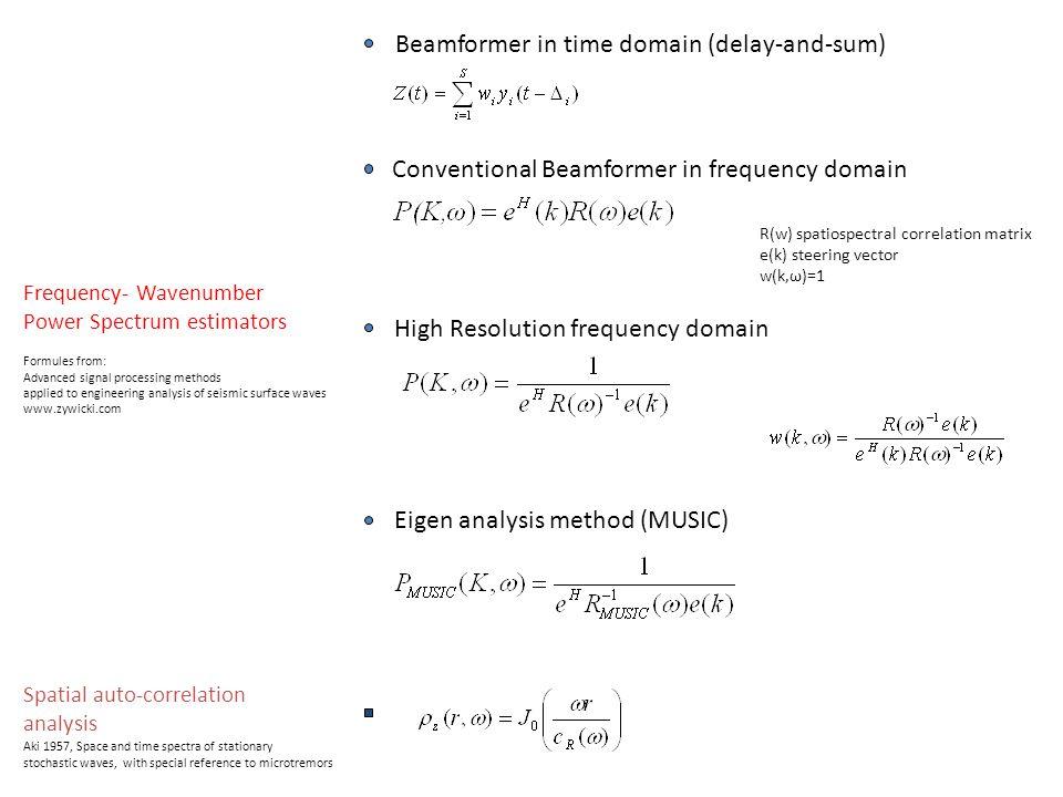 Schema base delle tecniche array basate sul rumore sismico (in genere array 2D) - Misurare le vibrazioni sismiche per mezzo di un cluster di stazioni sismiche sincronizzate (array) arrangiate in maniera ottimale sulla superficie - Stima della curva di dispersione apparente delle onde superficiali (e/o curve di correlazione) che sono direttamente legate alla struttura della terra - inversione della curva di dispersione (e/o curve di correlazioni) per stimare la struttura del suolo [Vs(z)] al di sotto dell ' array Tecniche FK misurano un time-delay e lavorano in genere su una o poche sorgenti Tecniche SPAC (ESAC) misurano la coerenza nello spazio delle forme d ' onda e assumono sorgenti noncorrelate distribuite random nello spazio e nel tempo