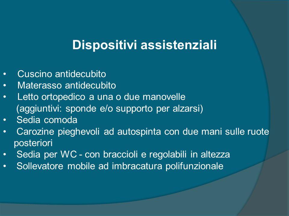 Dispositivi assistenziali Cuscino antidecubito Materasso antidecubito Letto ortopedico a una o due manovelle (aggiuntivi: sponde e/o supporto per alza