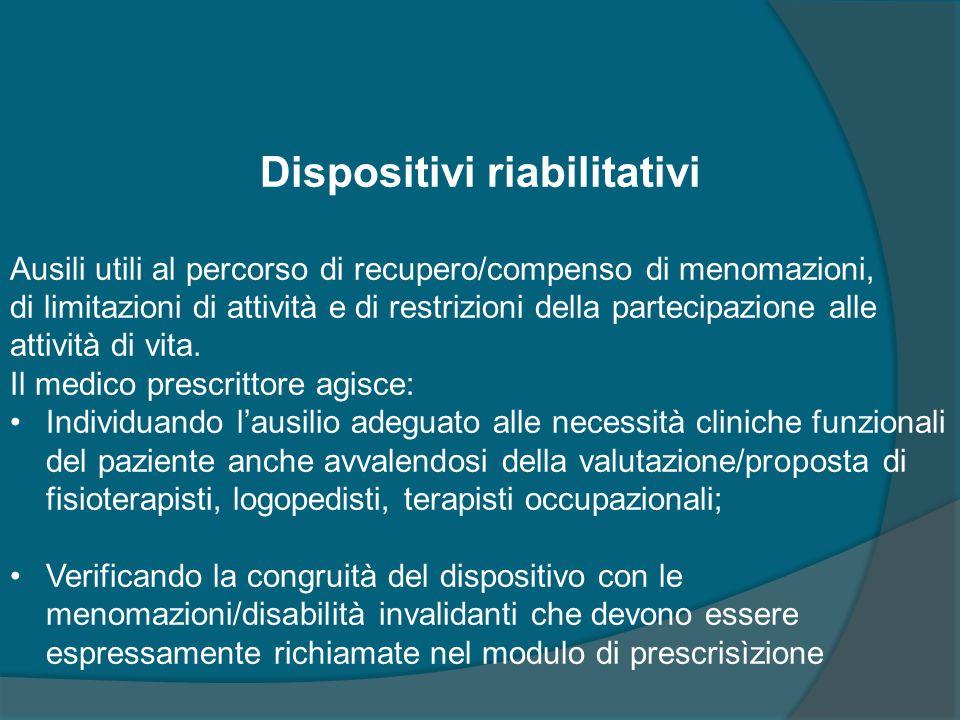 Dispositivi riabilitativi Ausili utili al percorso di recupero/compenso di menomazioni, di limitazioni di attività e di restrizioni della partecipazio