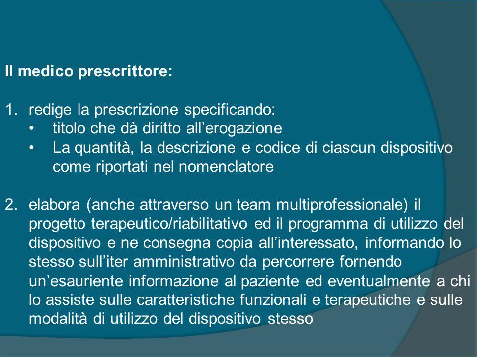Il medico prescrittore: 1.redige la prescrizione specificando: titolo che dà diritto all'erogazione La quantità, la descrizione e codice di ciascun di