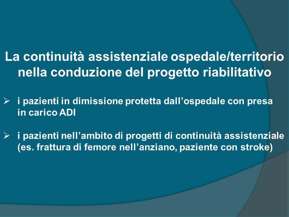 La continuità assistenziale ospedale/territorio nella conduzione del progetto riabilitativo  i pazienti in dimissione protetta dall'ospedale con pres