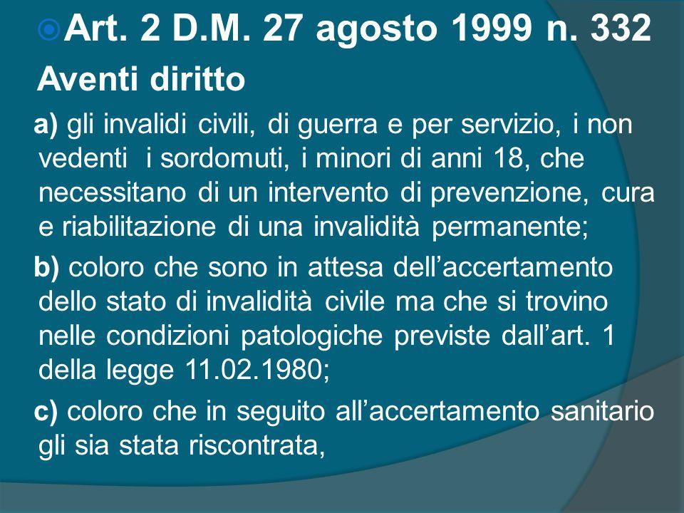  Art. 2 D.M. 27 agosto 1999 n. 332 Aventi diritto a) gli invalidi civili, di guerra e per servizio, i non vedenti i sordomuti, i minori di anni 18, c