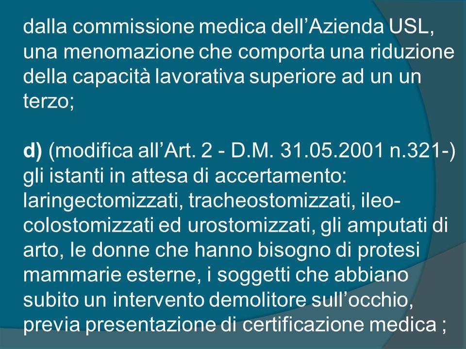 dalla commissione medica dell'Azienda USL, una menomazione che comporta una riduzione della capacità lavorativa superiore ad un un terzo; d) (modifica all'Art.