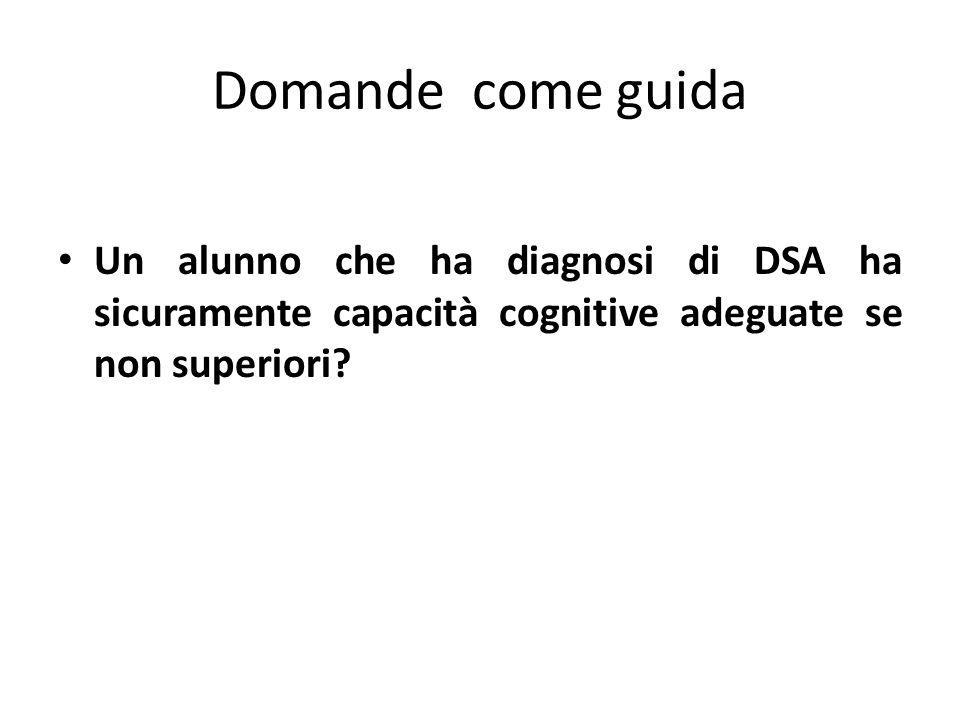 Domande come guida Un alunno che ha diagnosi di DSA ha sicuramente capacità cognitive adeguate se non superiori?