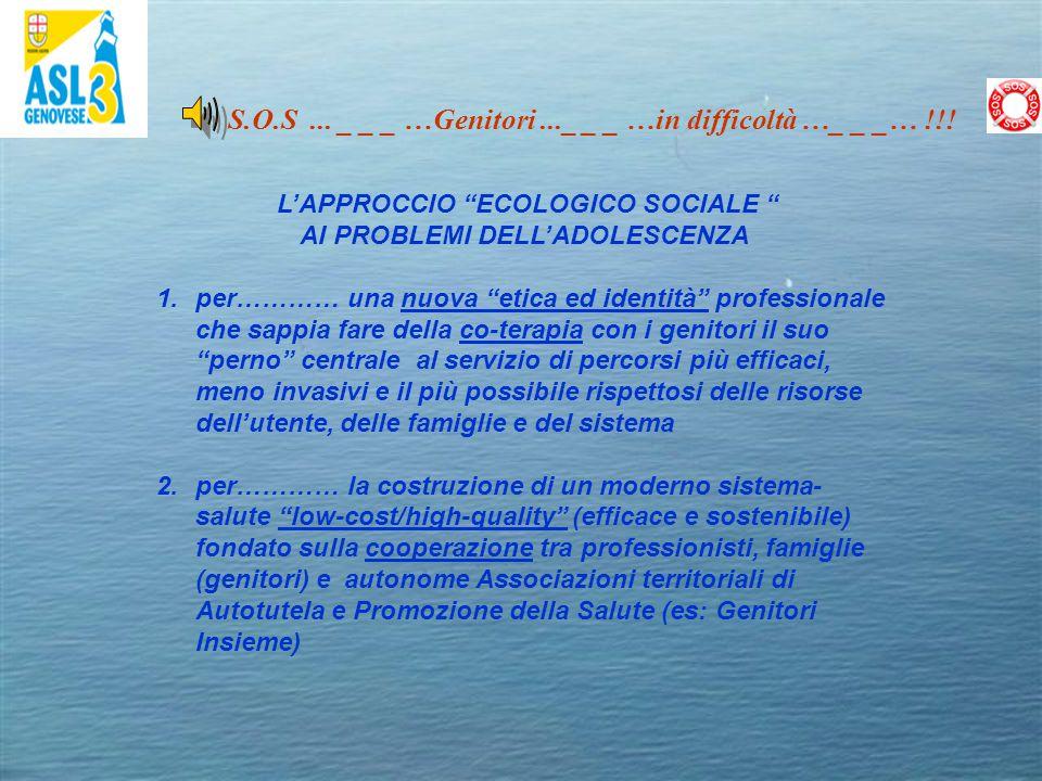 """S.O.S... _ _ _ …Genitori..._ _ _ …in difficoltà …_ _ _… !!! L'APPROCCIO """"ECOLOGICO SOCIALE """" AI PROBLEMI DELL'ADOLESCENZA 1.per………… una nuova """"etica e"""