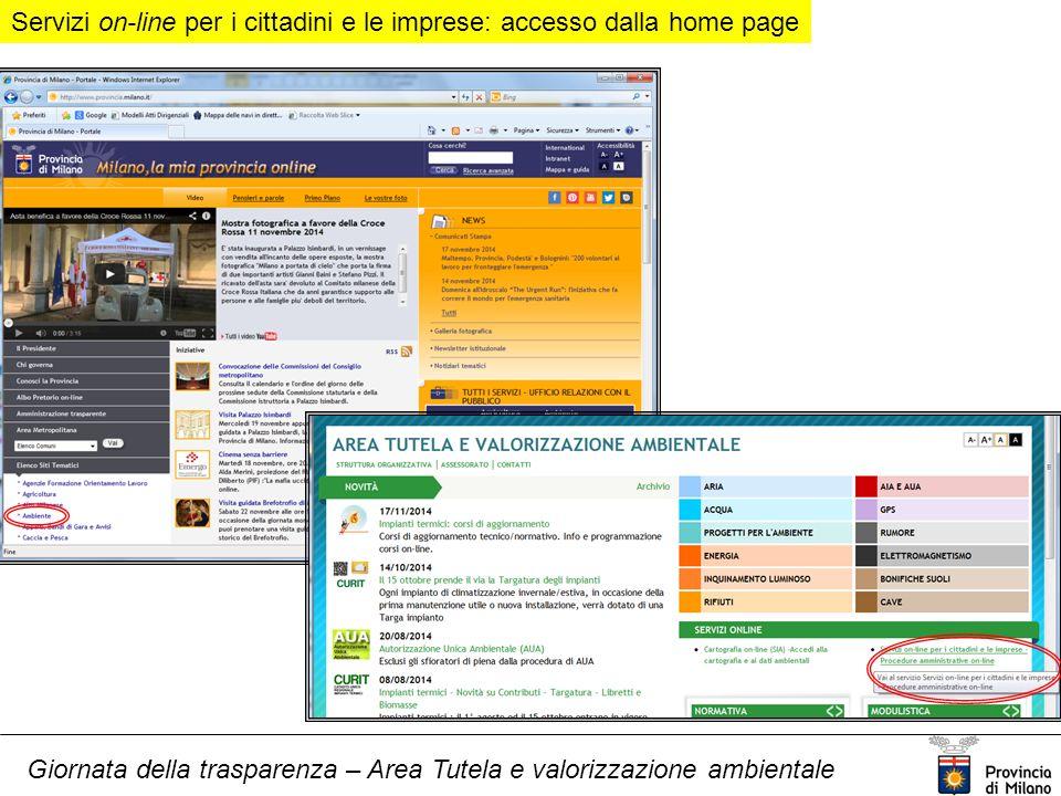 Giornata della trasparenza – Area Tutela e valorizzazione ambientale Servizi on-line per i cittadini e le imprese: accesso dalla home page