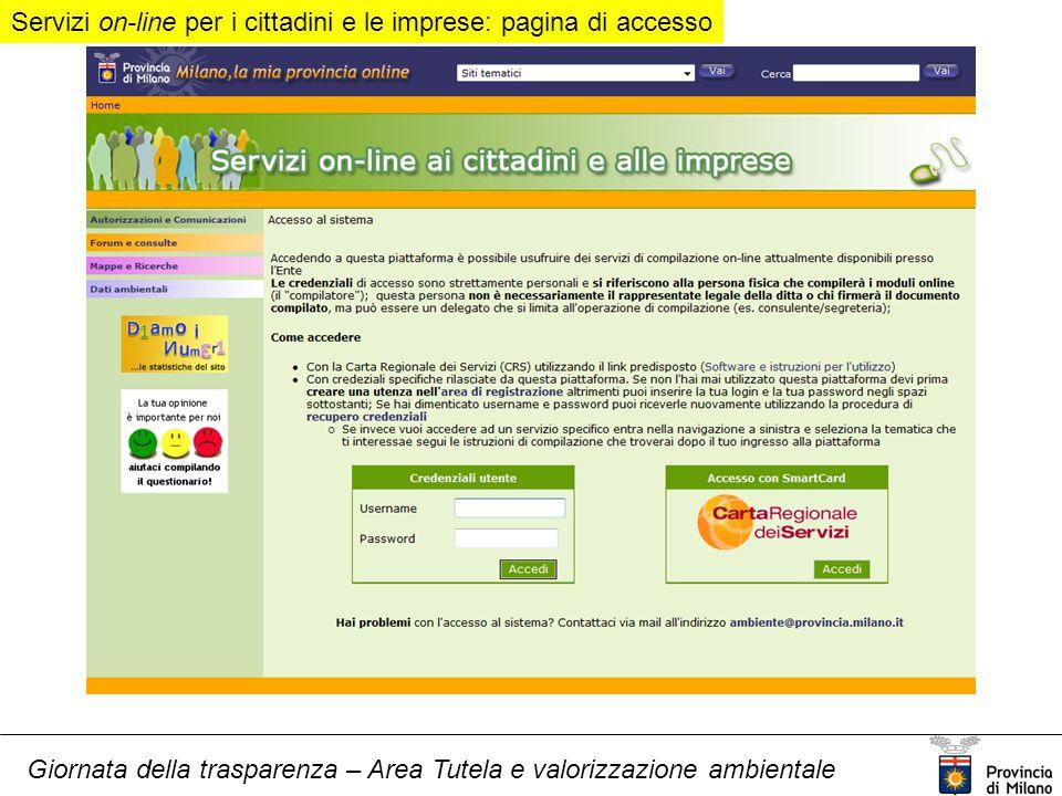 Giornata della trasparenza – Area Tutela e valorizzazione ambientale Servizi on-line per i cittadini e le imprese: pagina di accesso