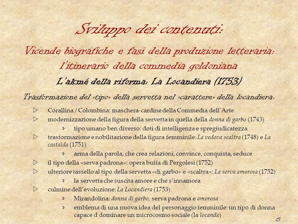 15 Sviluppo dei contenuti: L'akmé della riforma: La Locandiera (1753) Trasformazione del «tipo» della servetta nel «carattere» della locandiera :  Co
