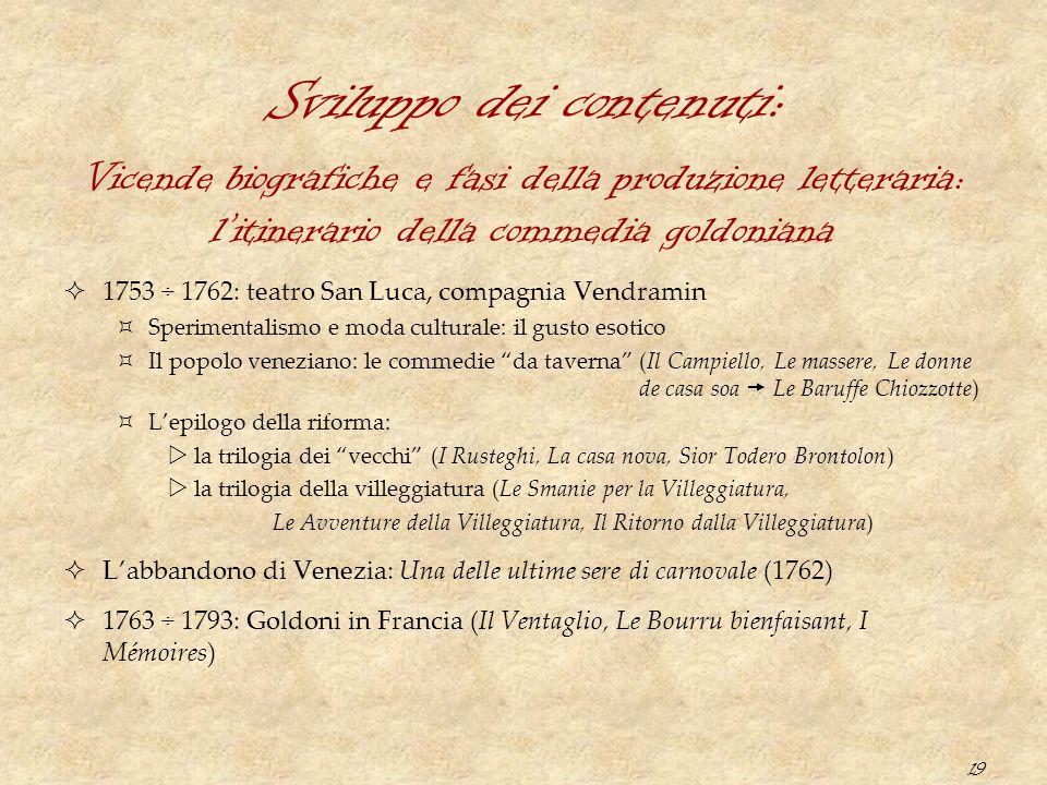 19 Sviluppo dei contenuti:  1753 ÷ 1762: teatro San Luca, compagnia Vendramin  Sperimentalismo e moda culturale: il gusto esotico  Il popolo venezi