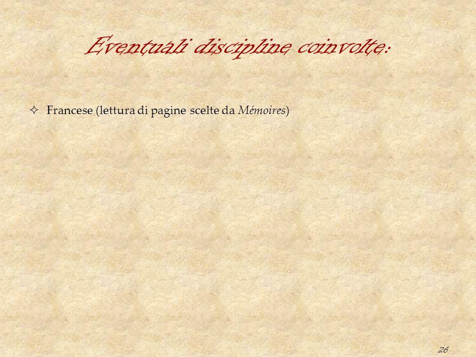 26 Eventuali discipline coinvolte:  Francese (lettura di pagine scelte da Mémoires)