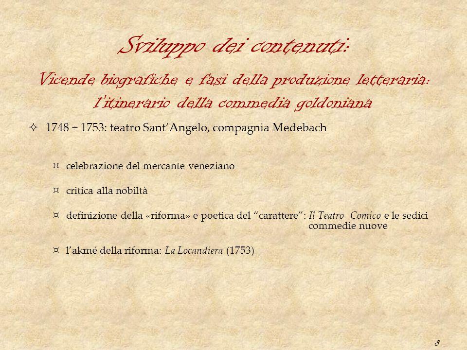 8 Sviluppo dei contenuti:  1748 ÷ 1753: teatro Sant'Angelo, compagnia Medebach  celebrazione del mercante veneziano  critica alla nobiltà  definiz