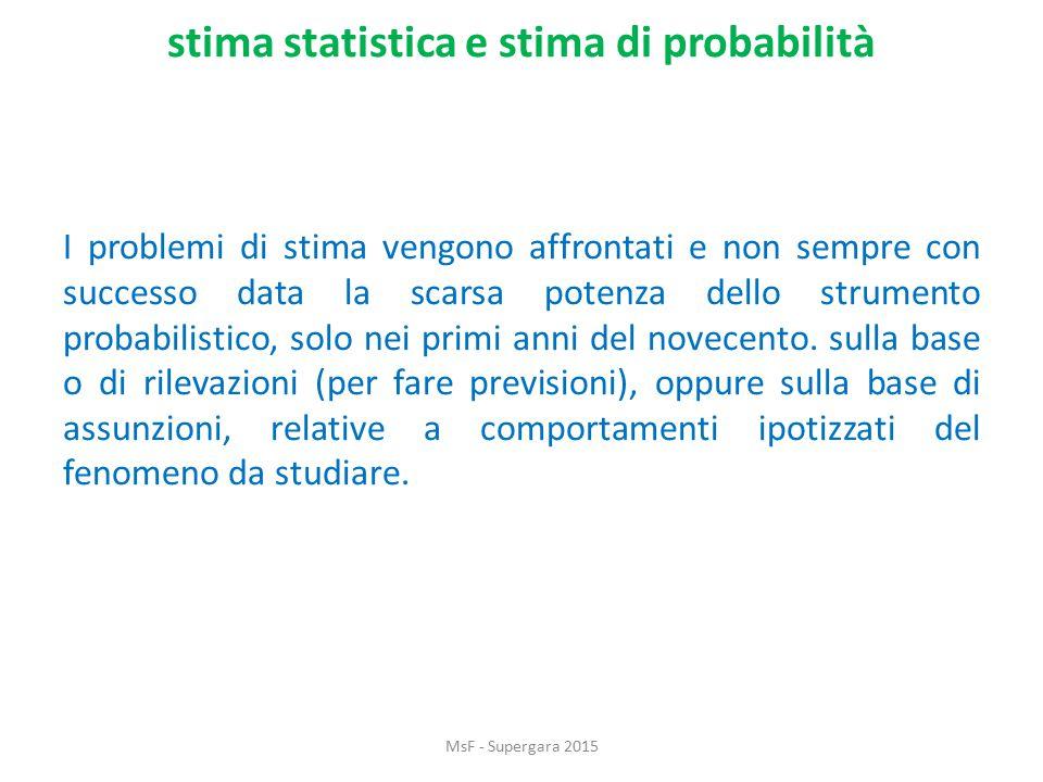 stima statistica e stima di probabilità I problemi di stima vengono affrontati e non sempre con successo data la scarsa potenza dello strumento probabilistico, solo nei primi anni del novecento.