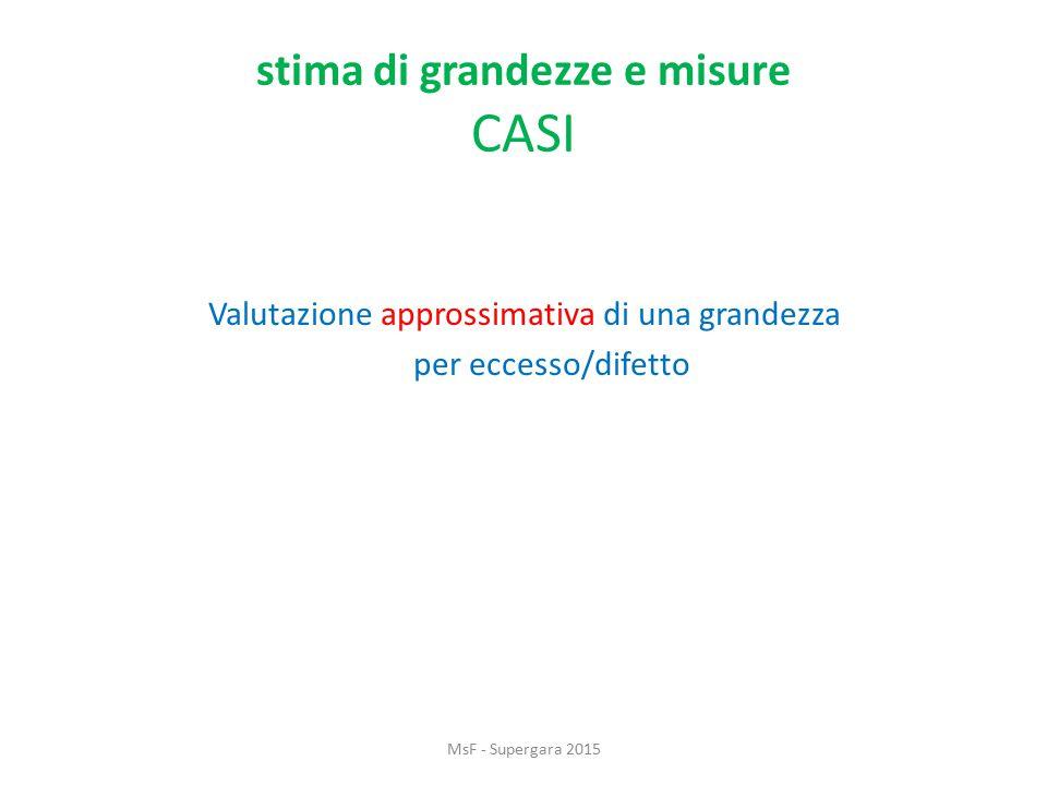 stima di grandezze e misure CASI Valutazione approssimativa di una grandezza per eccesso/difetto MsF - Supergara 2015