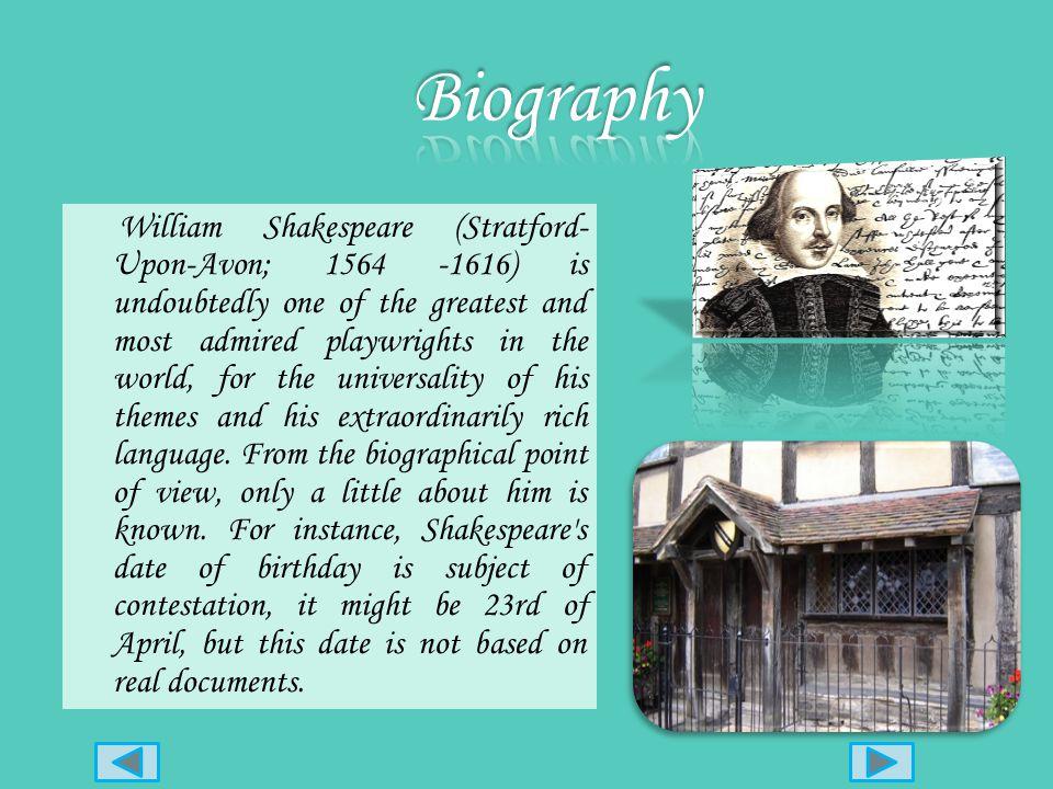 1564: nasce a Stratford- Upon-Avon 1564: nasce a Stratford- Upon-Avon 1582 : matrimonio con Anne Hathaway 1582 : matrimonio con Anne Hathaway 1586: ce