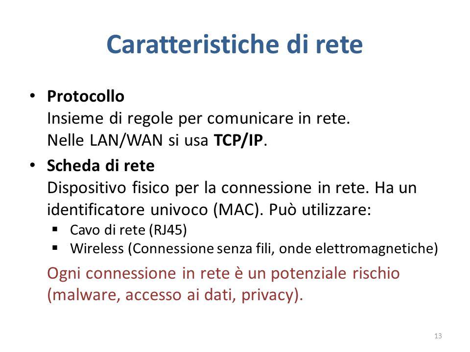 Caratteristiche di rete Protocollo Insieme di regole per comunicare in rete.