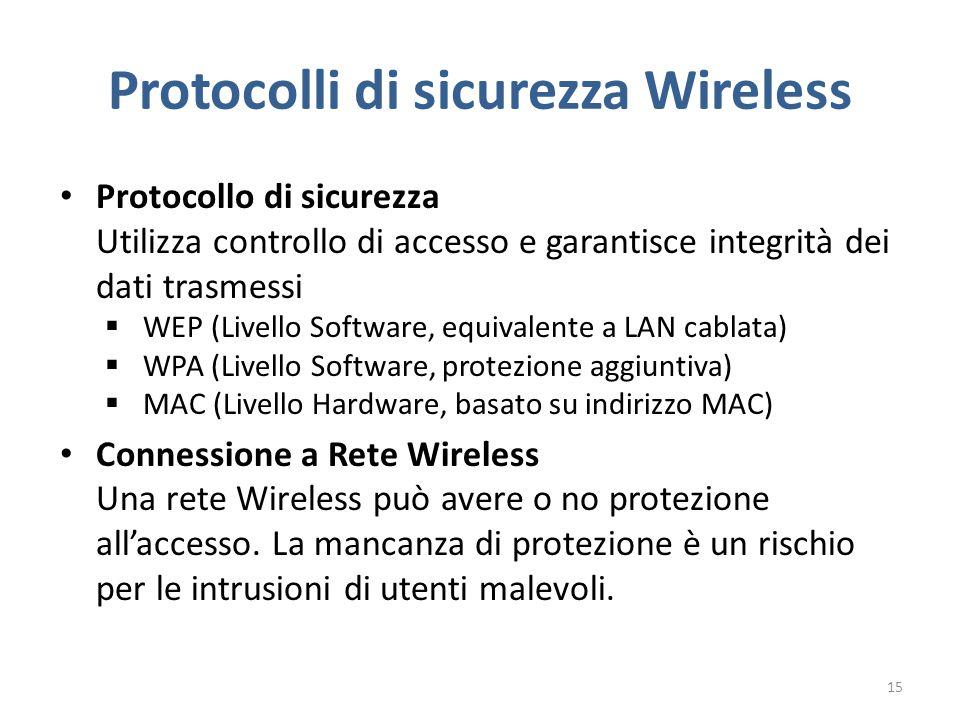 Protocolli di sicurezza Wireless Protocollo di sicurezza Utilizza controllo di accesso e garantisce integrità dei dati trasmessi  WEP (Livello Software, equivalente a LAN cablata)  WPA (Livello Software, protezione aggiuntiva)  MAC (Livello Hardware, basato su indirizzo MAC) Connessione a Rete Wireless Una rete Wireless può avere o no protezione all'accesso.