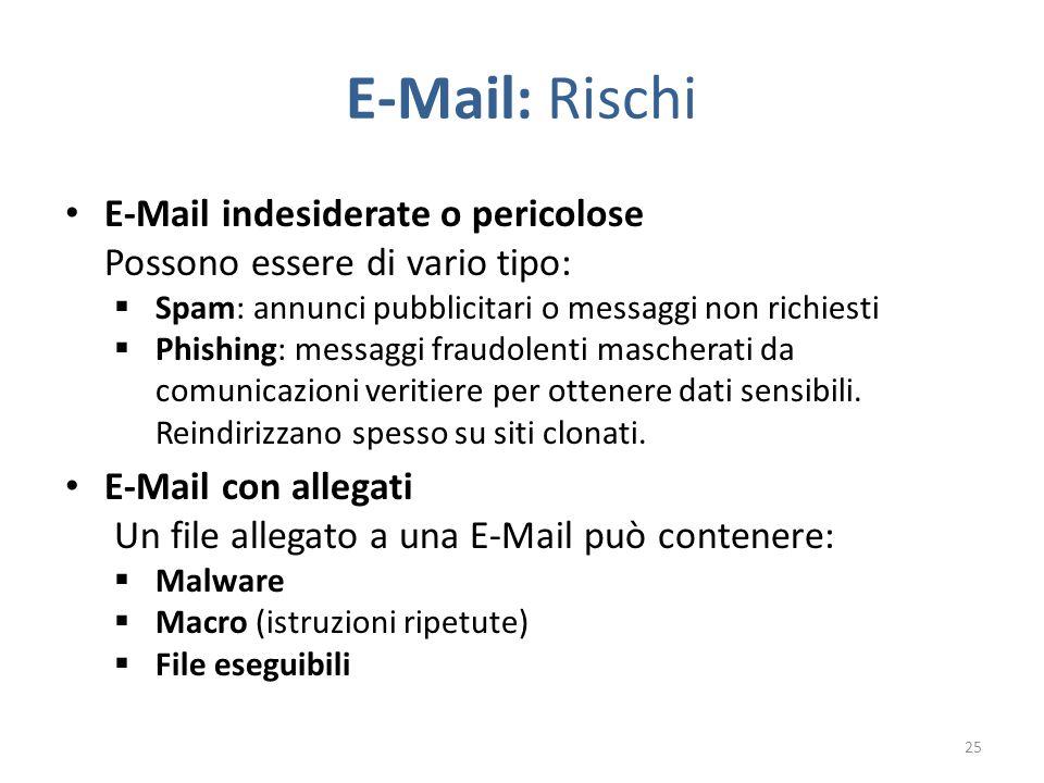 E-Mail: Rischi E-Mail indesiderate o pericolose Possono essere di vario tipo:  Spam: annunci pubblicitari o messaggi non richiesti  Phishing: messaggi fraudolenti mascherati da comunicazioni veritiere per ottenere dati sensibili.