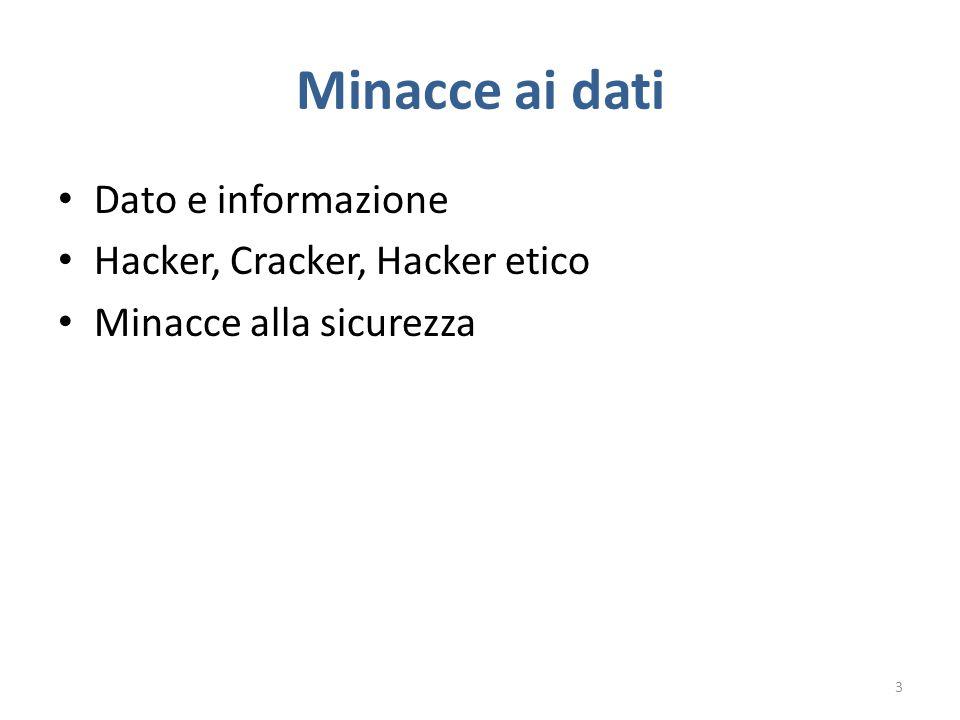 Minacce ai dati Dato e informazione Hacker, Cracker, Hacker etico Minacce alla sicurezza 3