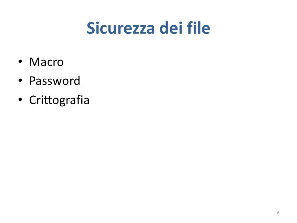 Sicurezza dei file Macro Password Crittografia 6