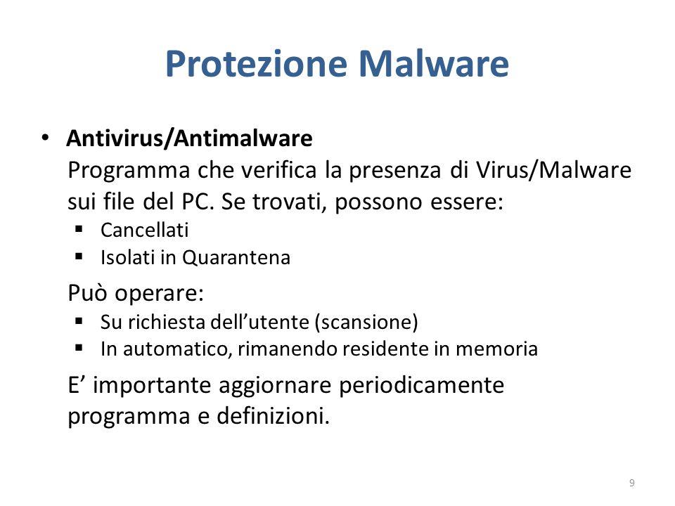 Protezione Malware Antivirus/Antimalware Programma che verifica la presenza di Virus/Malware sui file del PC.