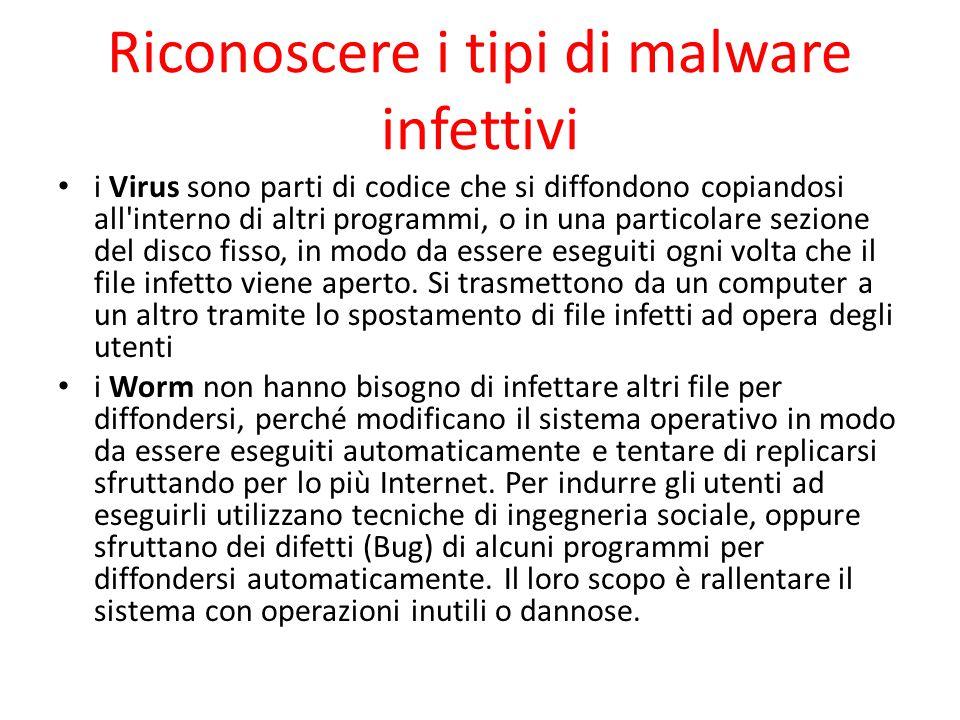 Riconoscere i tipi di malware infettivi i Virus sono parti di codice che si diffondono copiandosi all'interno di altri programmi, o in una particolare