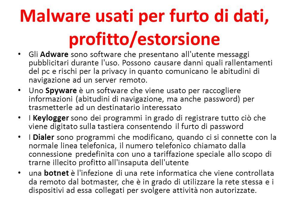 Malware usati per furto di dati, profitto/estorsione Gli Adware sono software che presentano all'utente messaggi pubblicitari durante l'uso. Possono c