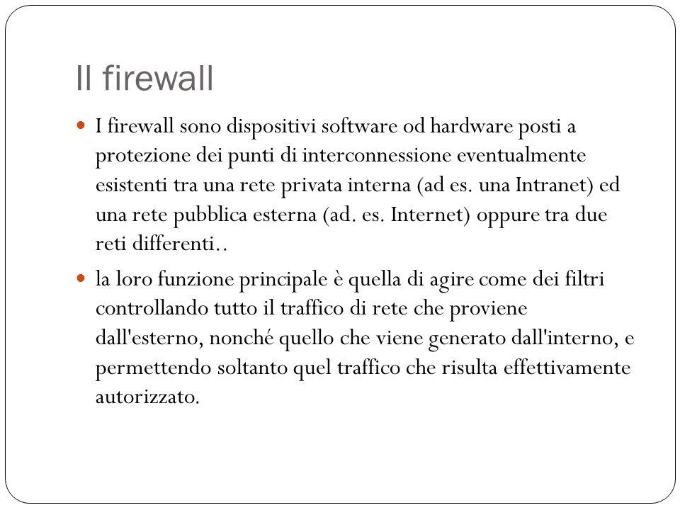 Il firewall I firewall sono dispositivi software od hardware posti a protezione dei punti di interconnessione eventualmente esistenti tra una rete pri