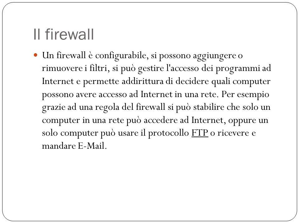 Il firewall Un firewall è configurabile, si possono aggiungere o rimuovere i filtri, si può gestire l'accesso dei programmi ad Internet e permette add