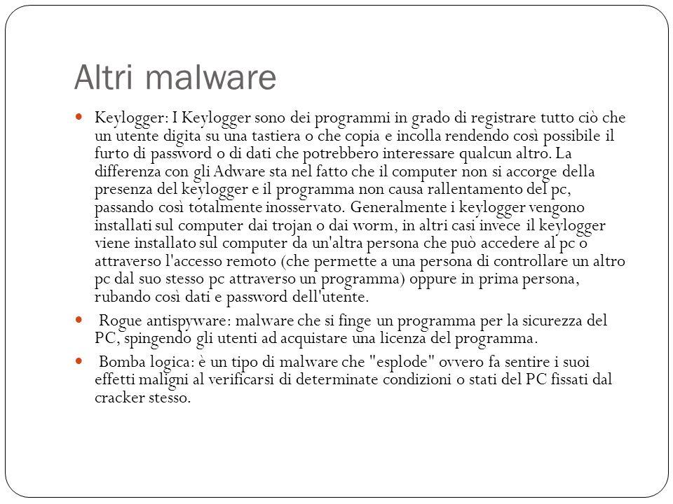 Altri malware Keylogger: I Keylogger sono dei programmi in grado di registrare tutto ciò che un utente digita su una tastiera o che copia e incolla re