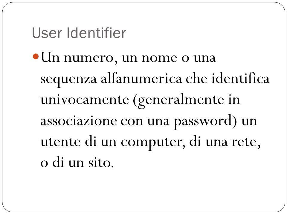User Identifier Un numero, un nome o una sequenza alfanumerica che identifica univocamente (generalmente in associazione con una password) un utente d