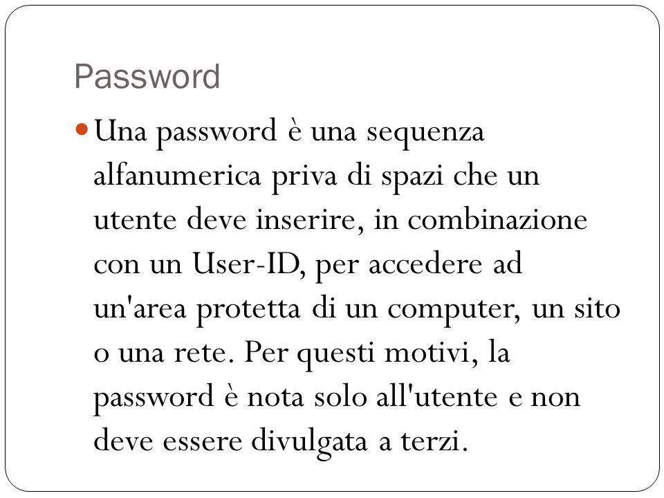 Password Una password è una sequenza alfanumerica priva di spazi che un utente deve inserire, in combinazione con un User-ID, per accedere ad un'area