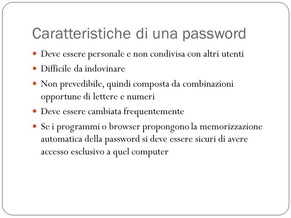 Caratteristiche di una password Deve essere personale e non condivisa con altri utenti Difficile da indovinare Non prevedibile, quindi composta da com