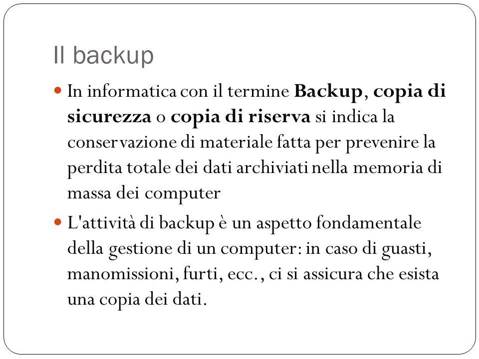 Il backup In informatica con il termine Backup, copia di sicurezza o copia di riserva si indica la conservazione di materiale fatta per prevenire la p