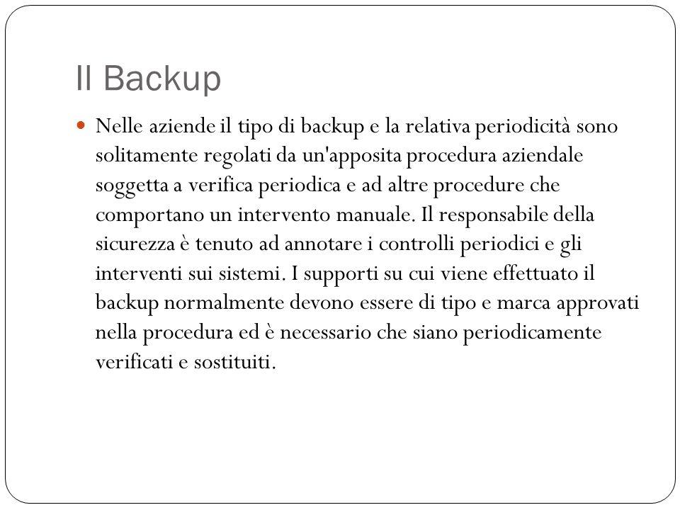 Il Backup Nelle aziende il tipo di backup e la relativa periodicità sono solitamente regolati da un'apposita procedura aziendale soggetta a verifica p