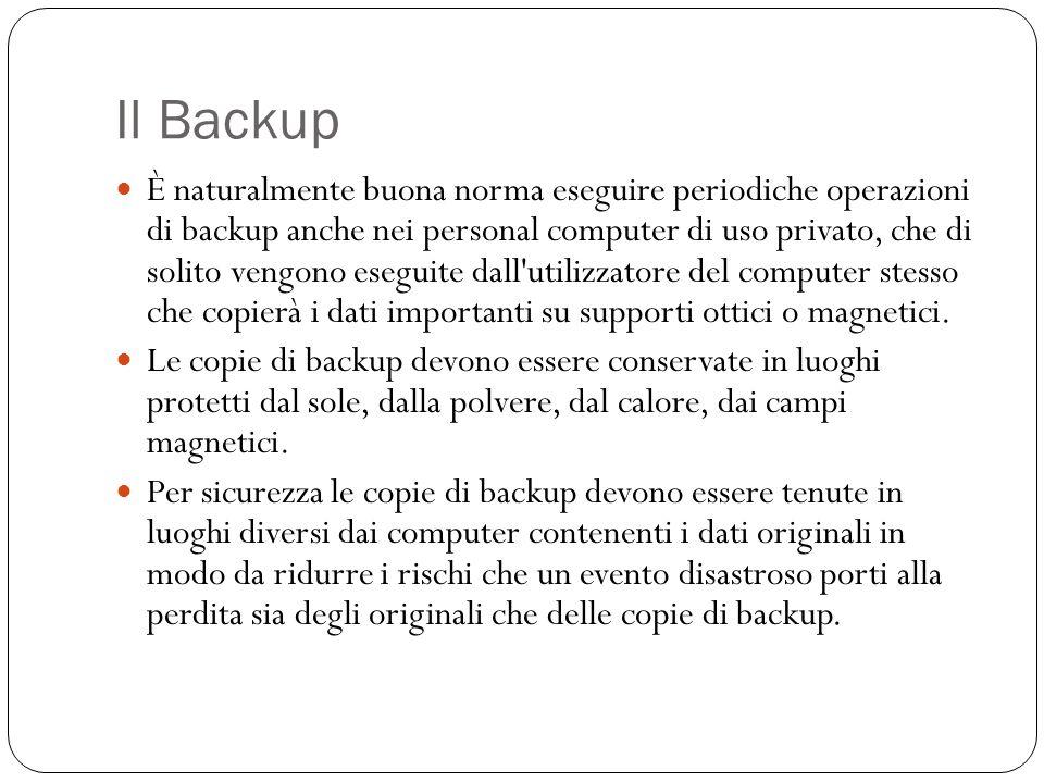 Il Backup È naturalmente buona norma eseguire periodiche operazioni di backup anche nei personal computer di uso privato, che di solito vengono esegui