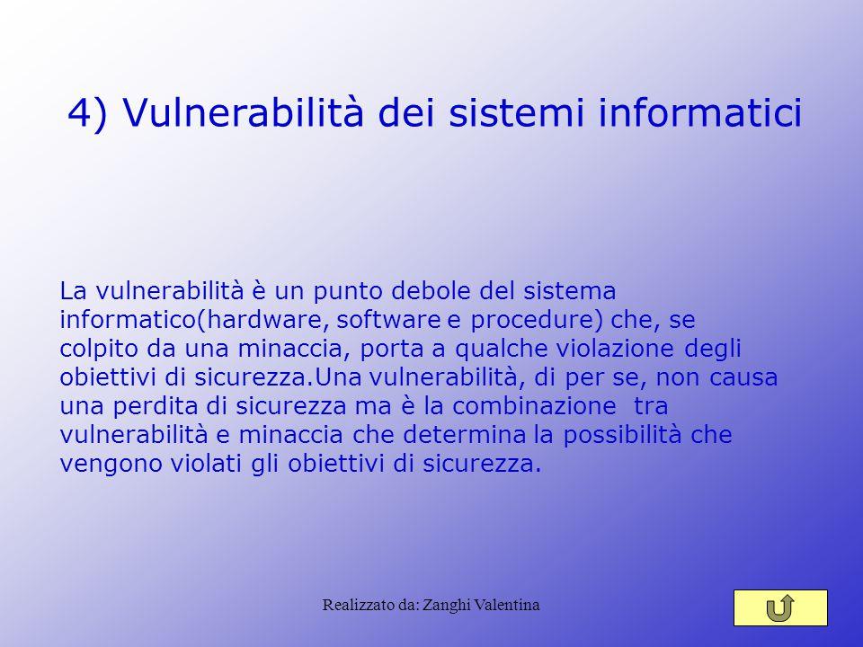 Realizzato da: Zanghi Valentina 4) Vulnerabilità dei sistemi informatici La vulnerabilità è un punto debole del sistema informatico(hardware, software
