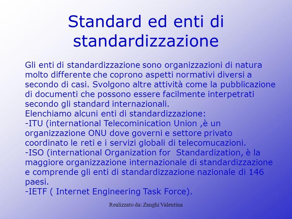 Realizzato da: Zanghi Valentina Standard ed enti di standardizzazione Gli enti di standardizzazione sono organizzazioni di natura molto differente che coprono aspetti normativi diversi a secondo di casi.