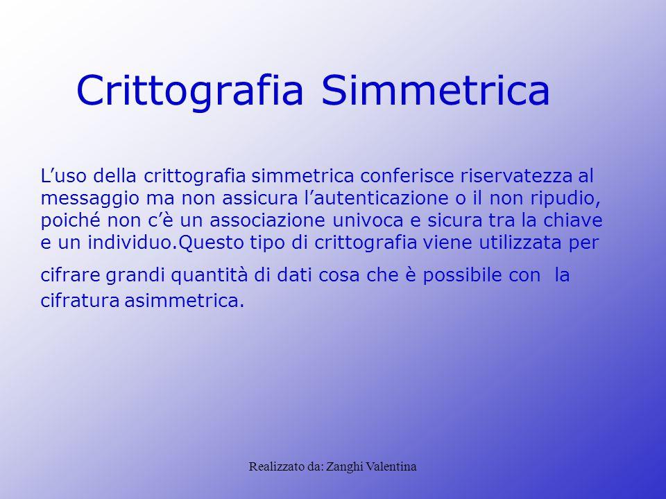 Realizzato da: Zanghi Valentina Crittografia Simmetrica L'uso della crittografia simmetrica conferisce riservatezza al messaggio ma non assicura l'aut