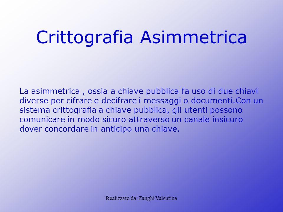 Realizzato da: Zanghi Valentina Crittografia Asimmetrica La asimmetrica, ossia a chiave pubblica fa uso di due chiavi diverse per cifrare e decifrare