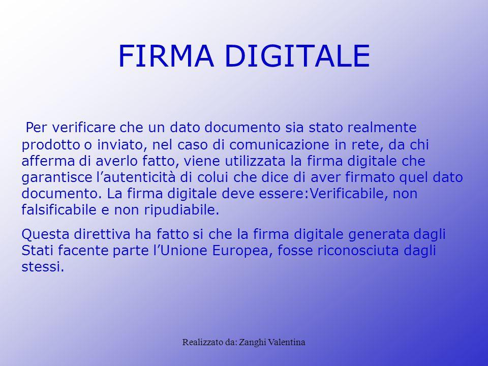 Realizzato da: Zanghi Valentina FIRMA DIGITALE Per verificare che un dato documento sia stato realmente prodotto o inviato, nel caso di comunicazione