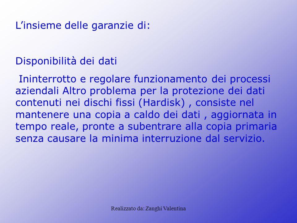 Realizzato da: Zanghi Valentina L'insieme delle garanzie di: Disponibilità dei dati Ininterrotto e regolare funzionamento dei processi aziendali Altro